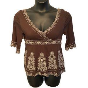 BCBGMAXAZRIA brown embroidered top